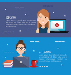 Electronic learning infographic technology vector
