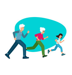 family sports grandparents with a child running vector image