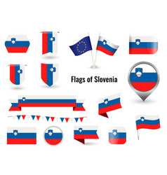 flag slovenia big set icons and symbols vector image