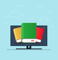 flat cartoon pc with books concept of ebook vector image