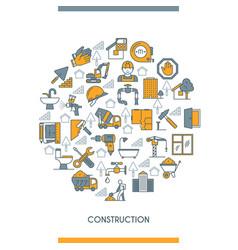flat line design construction concept vector image
