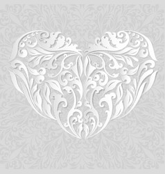 floral white heart with shadow vector image