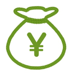 Four Leaf Clover of Euro Sign in Money Bag Icon vector