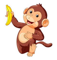 Funny monkey running and holding banana vector