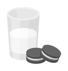 Glass of milk with cookies icon in monochrome vector