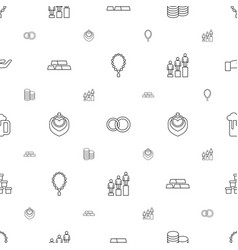 Gold icons pattern seamless white background vector
