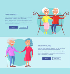 Grandparents posters with mature couples together vector