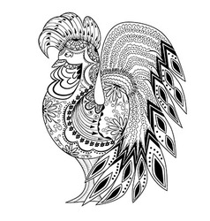 Graphic rooster figure black and white ornament vector image