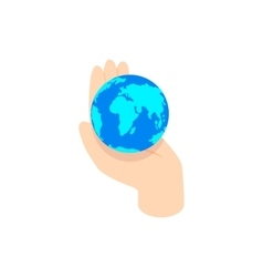 hand holding the earth icon isometric 3d style vector image