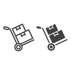 Hand truck with boxes line and glyph icon vector