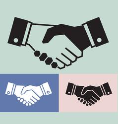 handshake icon set on vintage background business vector image
