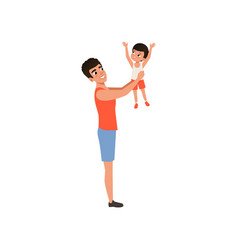 happy father holding his son in his arms loving vector image