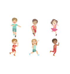 Happy kids running set adorable boys and girls vector