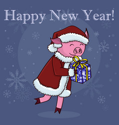 Happy new year card cartoon pig with gift vector