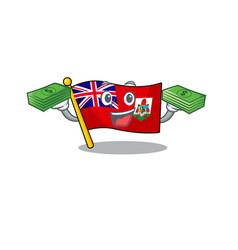 Holding money flag bermuda isolated cartoon the vector