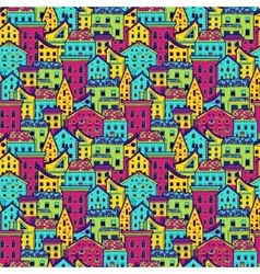 Houses Pattern Big Color vector image