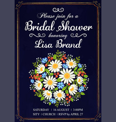 invitation template with wedding flowers vector image