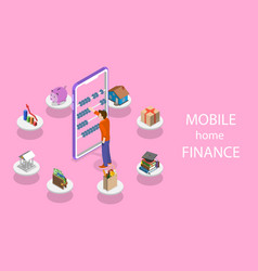 isometric flat concept of personal home vector image