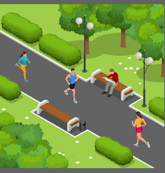 Isometric young woman and man runners running on a vector