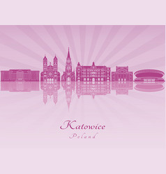 katowice skyline in purple radiant orchid vector image
