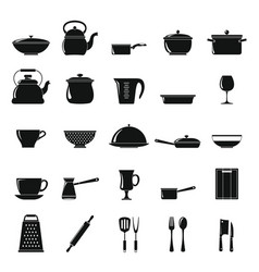 Kitchen dishes icons set in simple style vector