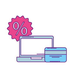 laptop computer with set icons vector image
