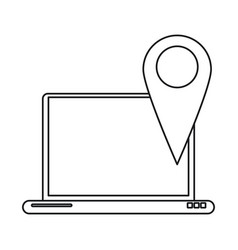 Laptop pin map app gps line vector