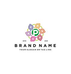 Letter p leaf colorful logo design and business vector