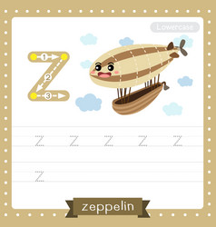Letter z lowercase tracing practice worksheet vector