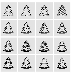 Line christmas tree icon set vector