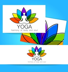 Lotos yoga logo vector