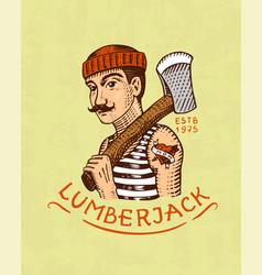 Lumberjack logo camping label trip vector