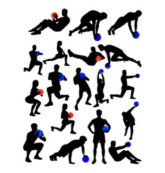 man and woman doing exercise detail silhouette vector image