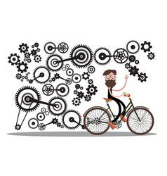 man on bicycle with cogs - gears isolated on vector image