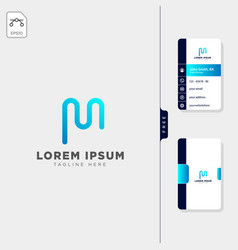 minimal m initial logo template free business vector image