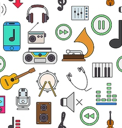 Music colorful pattern icons vector image