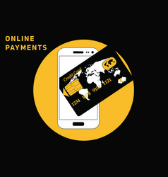 online mobile payment with credit card vector image