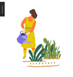 people summer gardening vector image