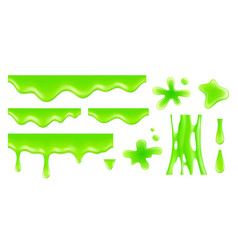 realistic dripping slime radioactive green blobs vector image