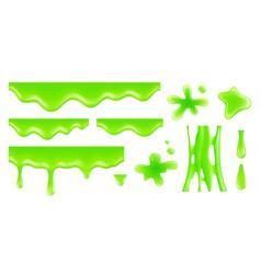 Realistic dripping slime radioactive green blobs vector