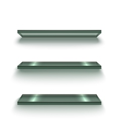 Realistic Glass Shiny Shelves Set vector image