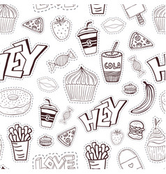 seamless cartoon pattern with fast food cartoon vector image