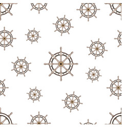 Seamless pattern with image of the helm on world vector