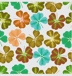 seamless pattern with leaves of clover vector image