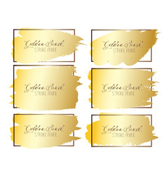 set of golden brush stroke frame vector image