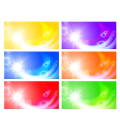 Set of horizontal sunny banners vector