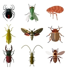Set of insect flat icons2 vector image