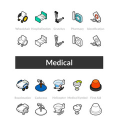 set of isometric icons in outline style colored vector image