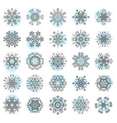 Set of minimalistic line geometrical snowflakes vector