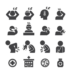 Sick icon set vector